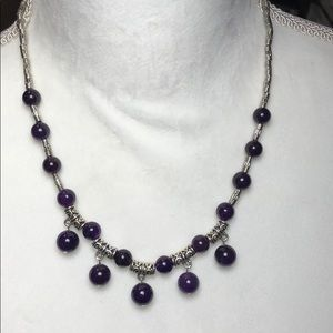 Amethyst necklace with tabtan silver